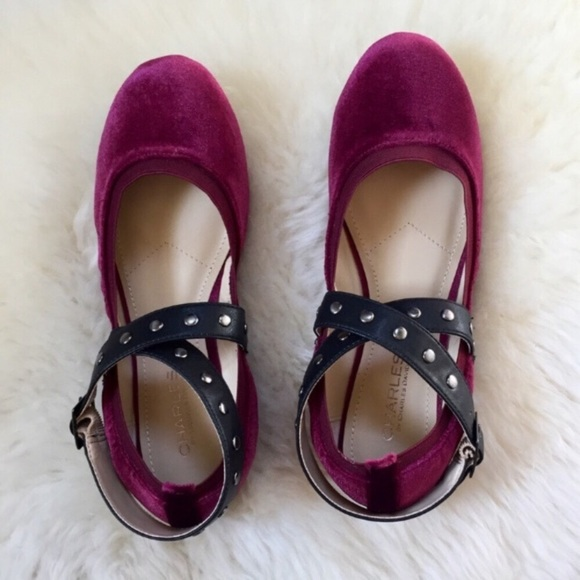 ba2ab1adfc Charles David Shoes | Charles By Velvet Studded Flats | Poshmark